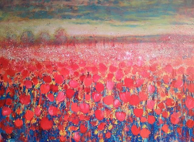 Obraz do salonu artysty Jacek Caputa pod tytułem Red meadow