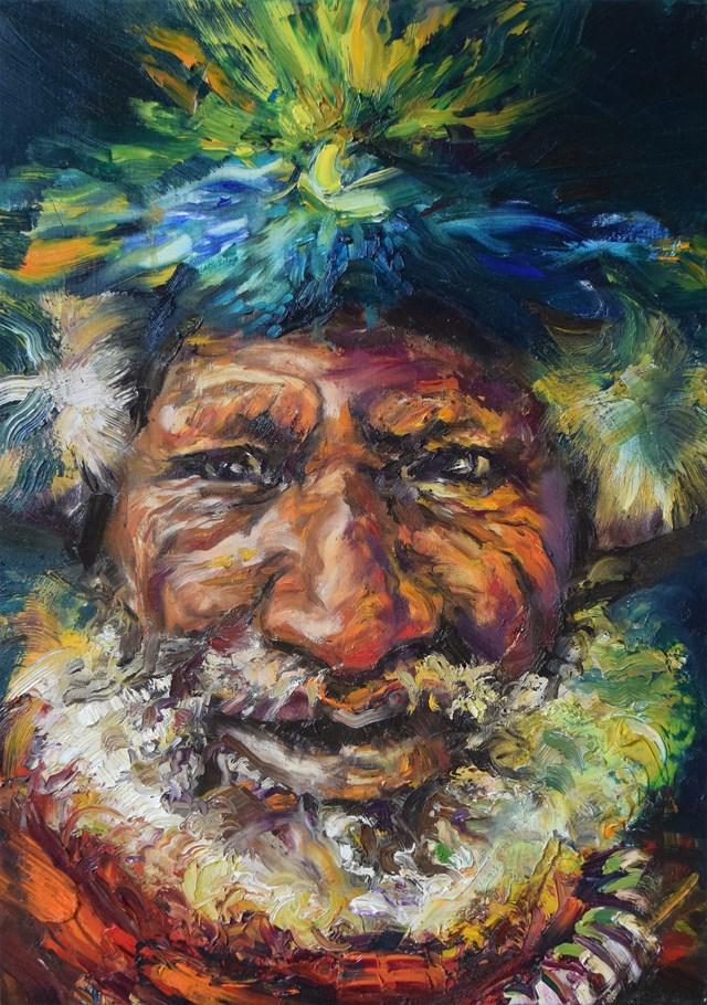"""Obraz do salonu artysty Nikola Kiraga pod tytułem Szaman Papua Nowa Gwinea z cyklu: """"Ludy ziemi"""""""