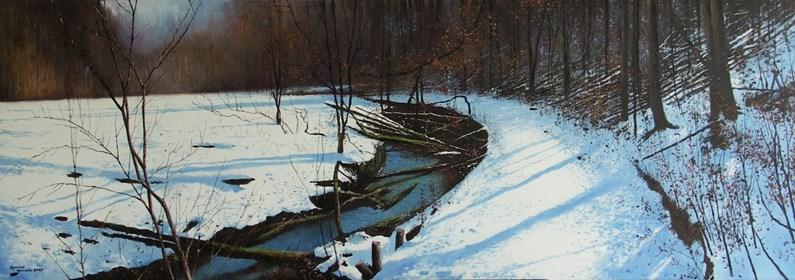 Obraz do salonu artysty Konrad Hamada pod tytułem Pierwszy śnieg