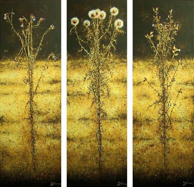 Obraz do salonu artysty Konrad Hamada pod tytułem Osty w złocie - tryptyk