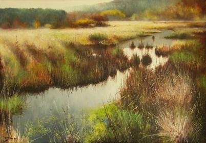 Obraz do salonu artysty Konrad Hamada pod tytułem Mokradła jesienią