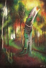 Obraz do salonu artysty Konrad Hamada pod tytułem Barwy lasu 1