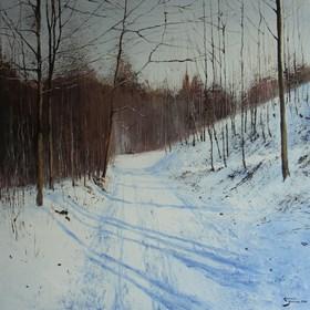 Obraz do salonu artysty Konrad Hamada pod tytułem Droga w lesie zimą