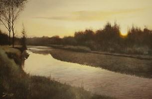 Obraz do salonu artysty Konrad Hamada pod tytułem Wschód słońca nad rzeką