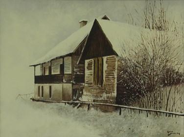 Obraz do salonu artysty Konrad Hamada pod tytułem Chaty zimą