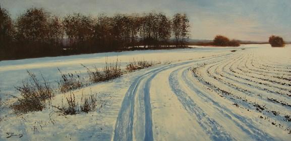 Obraz do salonu artysty Konrad Hamada pod tytułem Zimowa droga w polach