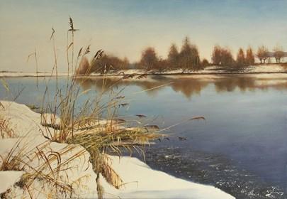 Obraz do salonu artysty Konrad Hamada pod tytułem Schyłek zimy