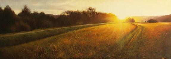 Obraz do salonu artysty Konrad Hamada pod tytułem Zachód słońca na łące