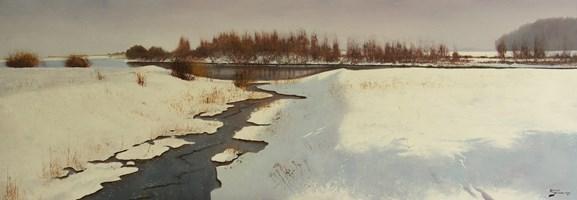 Obraz do salonu artysty Konrad Hamada pod tytułem Rzeczka w zimie