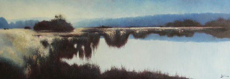 Obraz do salonu artysty Konrad Hamada pod tytułem Błękitny pejzaż