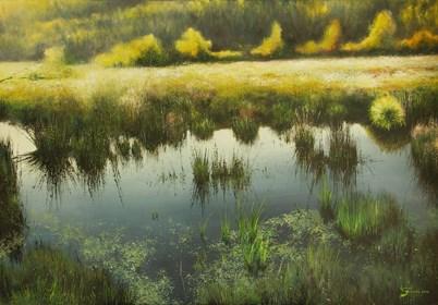 Obraz do salonu artysty Konrad Hamada pod tytułem Mokradła w sierpniu