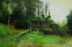 Obraz do salonu artysty Konrad Hamada pod tytułem Cerkiew w Szczawnem