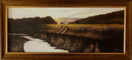 Living room painting by Konrad Hamada titled  A broken road by the river