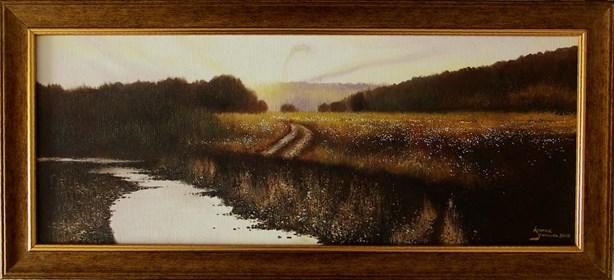 Obraz do salonu artysty Konrad Hamada pod tytułem Zerwana droga nad rzeką