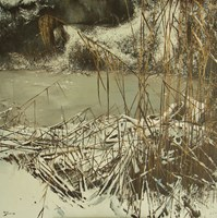 Living room painting by Konrad Hamada titled  Over a frozen pond
