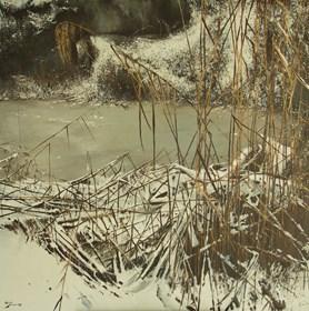 Obraz do salonu artysty Konrad Hamada pod tytułem Nad zamarzniętym stawem