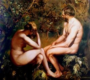 Obraz do salonu artysty Jan Dubrowin pod tytułem Rajskie opowieści