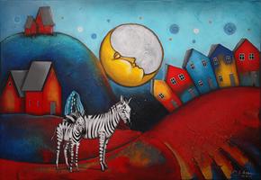 Obraz do salonu artysty Małgorzata Rukszan pod tytułem Jagodowa polana z cyklu Pogoda w paski