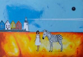 Obraz do salonu artysty Małgorzata Rukszan pod tytułem Dobry Znak, z cyklu pogoda w paski