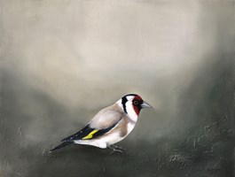 Living room painting by Klaudia Choma titled European goldfinch