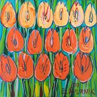 Obraz do salonu artysty Edward Dwurnik pod tytułem Pomarańczowe tulipany 7207
