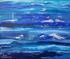 Living room painting by Edward Dwurnik titled Sea - Polish defensive drones, underwater