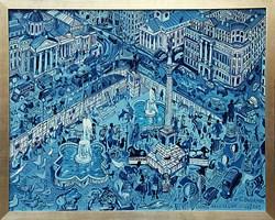 Living room painting by Edward Dwurnik titled London Trafalgar SQ