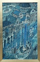 Living room painting by Edward Dwurnik titled London perfect city