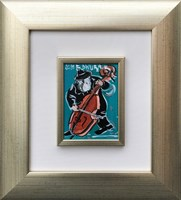 Living room painting by Edward Dwurnik titled Contrabassist