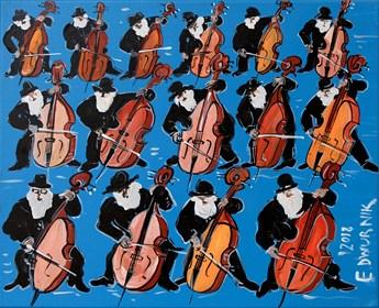 Obraz do salonu artysty Edward Dwurnik pod tytułem 15 kontrabasistów