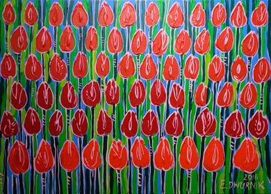 Obraz do salonu artysty Edward Dwurnik pod tytułem Czerwone Tulipany NR: XXIII - 1059-6171