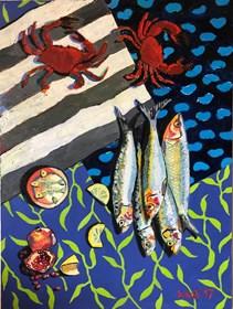 Obraz do salonu artysty David Schab pod tytułem Kraby i śledzie
