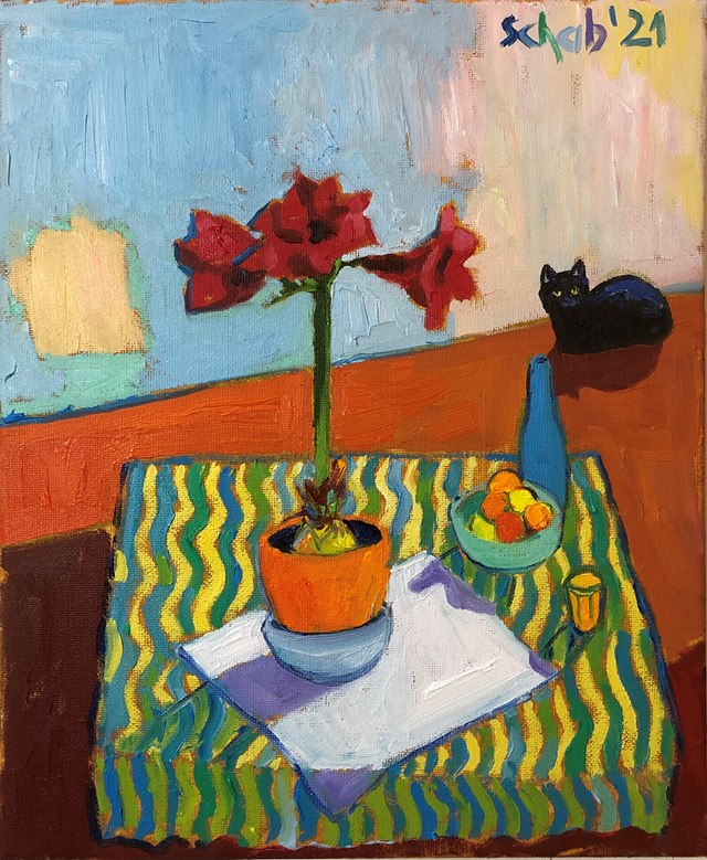Living room painting by David Schab titled Red amaryllis and black cat