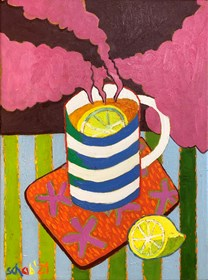 Living room painting by David Schab titled Hot tea with lemon