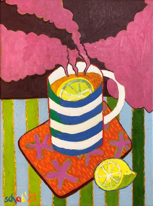 Obraz do salonu artysty David Schab pod tytułem Gorąca herbata z cytryną