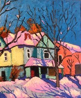 Living room painting by David Schab titled Winter 1973