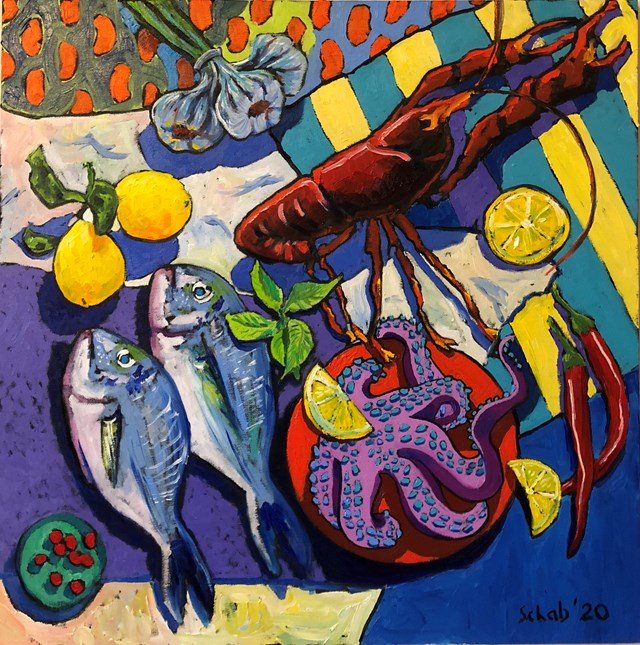 Obraz do salonu artysty David Schab pod tytułem Martwa natura z owocami morza