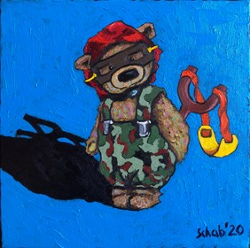 Living room painting by David Schab titled  Teddy Bear