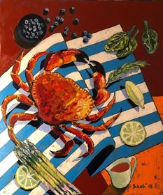 Living room painting by David Schab titled Still life with crab