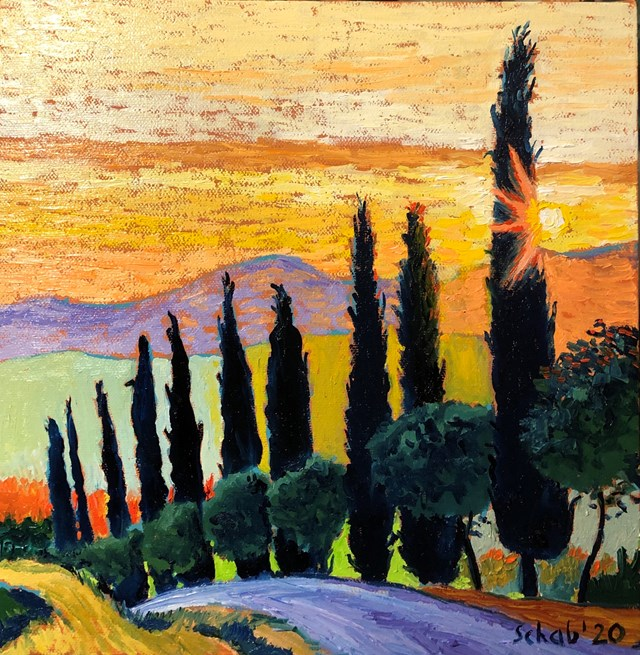 Obraz do salonu artysty David Schab pod tytułem Zachód słońca nad Toskanią