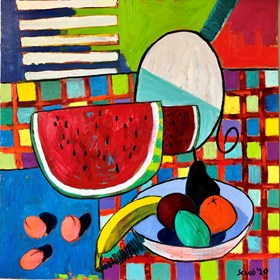 Living room painting by David Schab titled Still life with watermelon and mirror