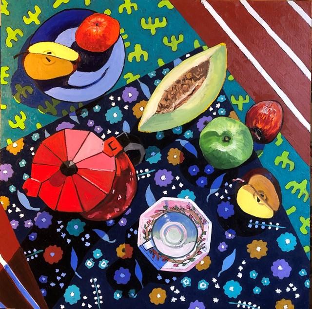 Obraz do salonu artysty David Schab pod tytułem Martwa natura z czerwoną kawiarką