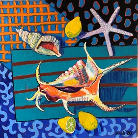 Living room painting by David Schab titled Still life with shells and lemons