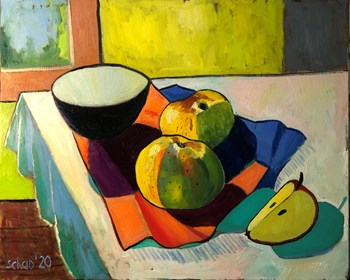 Living room painting by David Schab titled Still life with two yellow apples