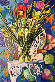 Living room painting by David Schab titled Still life with flowers on the Marta's chair