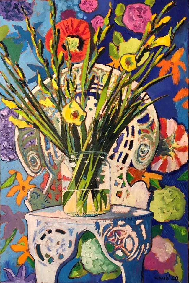 Obraz do salonu artysty David Schab pod tytułem Still life with flowers on the Marta's chair