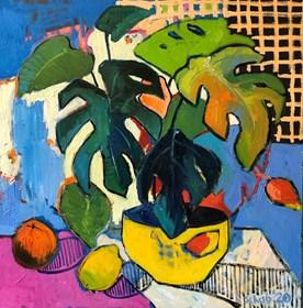 Obraz do salonu artysty David Schab pod tytułem Monstera w żółtej doniczce