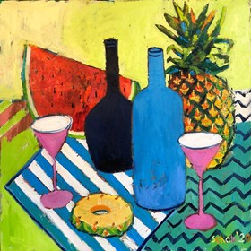Living room painting by David Schab titled  Still life with blue bottles