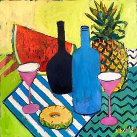 Obraz do salonu artysty David Schab pod tytułem Martwa natura z niebieskimi butelkami
