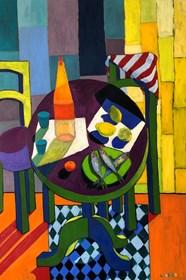 Obraz do salonu artysty David Schab pod tytułem Martwa natura z okrągłym stołem